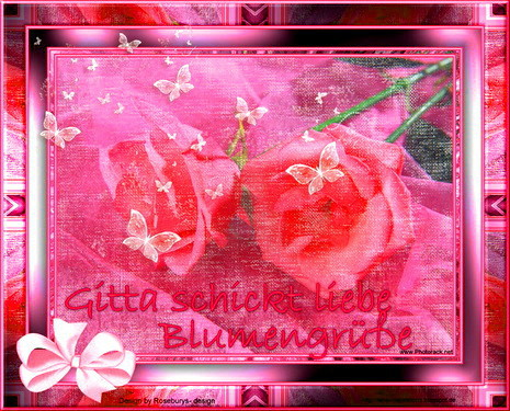 Pink Rosen mit Schmetterlingen