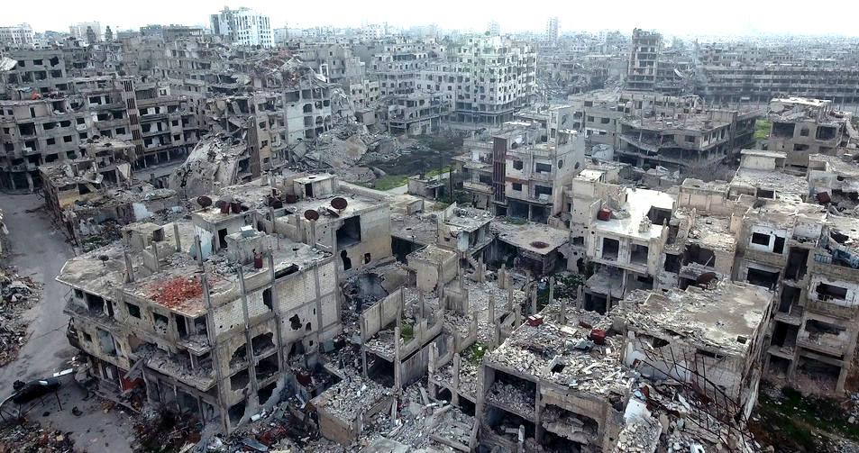 Syrische Trümmer-Stadt