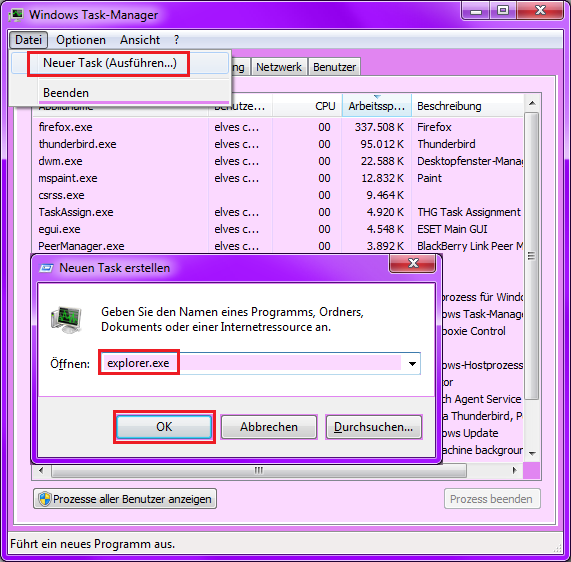 Taskmanager Explorer.exe starten