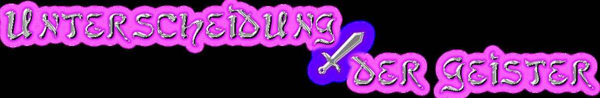 """Schriftzug: """"Unterscheidung der Geister"""" - Silber-Chrom mit Pink und Schwert"""