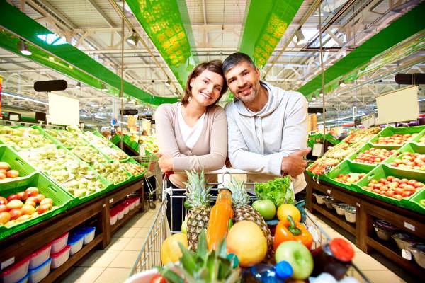 Vitamin-Landschaft im Supermarkt