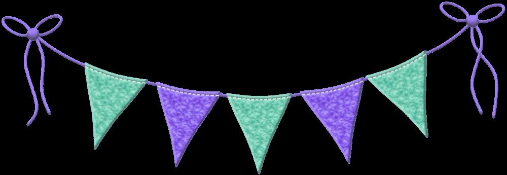 Wimpelgirlande - Blau-Lila