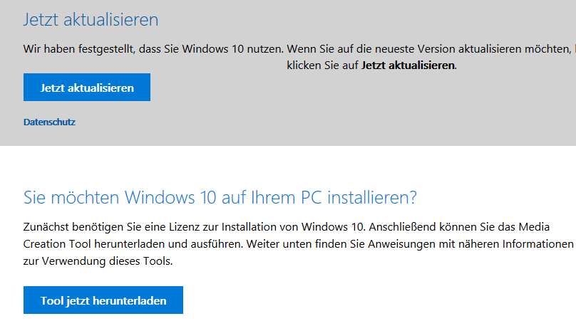Windows-10-ISO und Upgrade