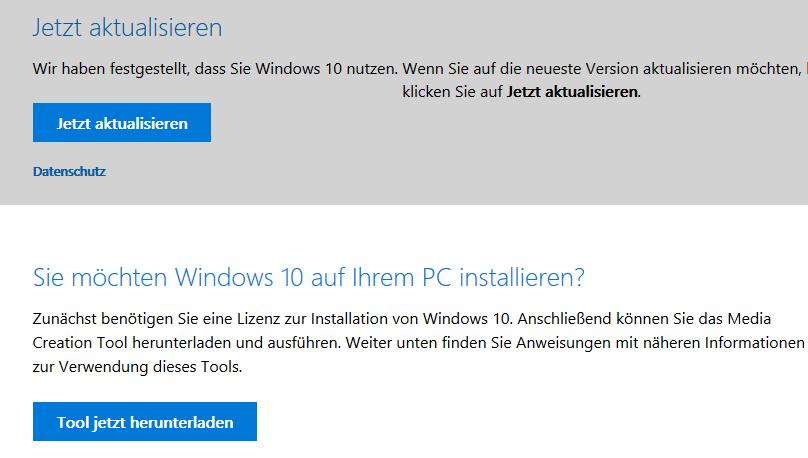 Windows-10-ISO und Upgrade