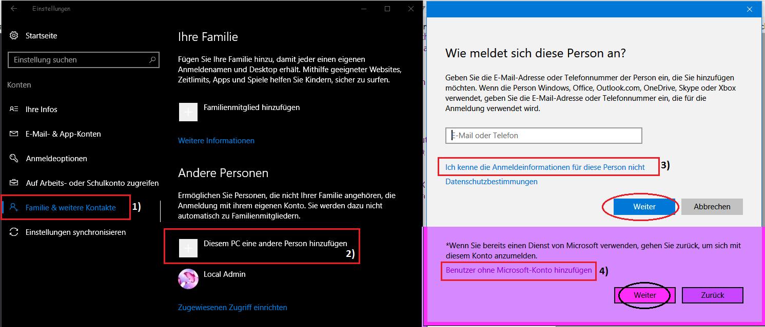 Windows 10 - Lokales Benutzerkonto