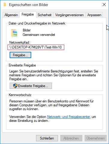 Windows 10 Freigabe im Netzwerk