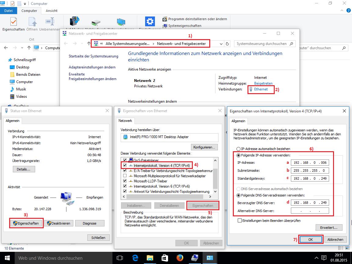 Windows 10 - Manuelle IP Adresse
