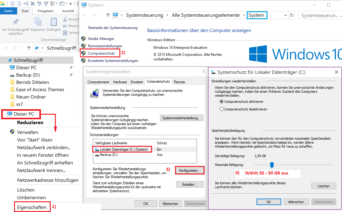 Windows 10 Computerschutz Systemwiederherstellung