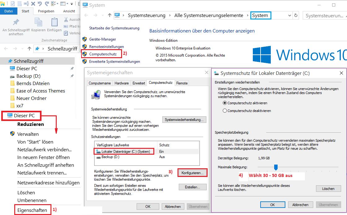 Windows 10 Computerschutz Systemwiederherstellung