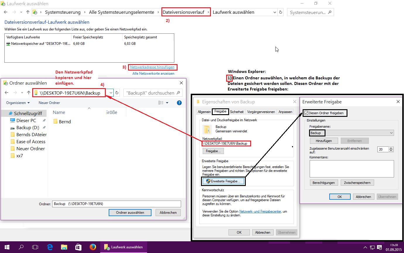 Windows 10 Dateiversionsverlauf auf System Festplatte einrichten