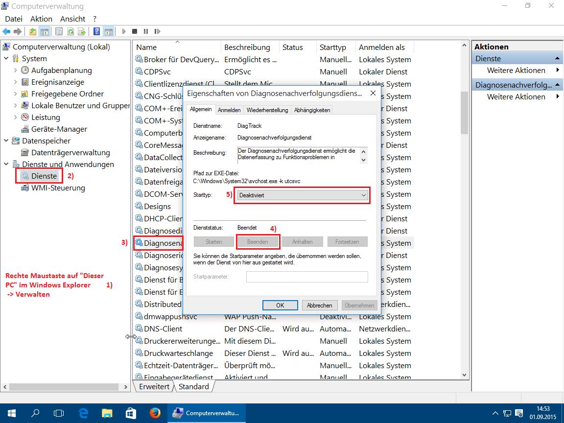 Windows 10 Dienst beenden und deaktivieren