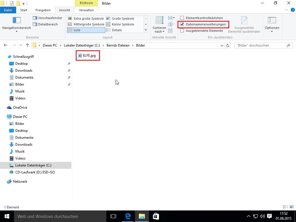 Windows 10 Explorer - Dateinamenerweiterungen