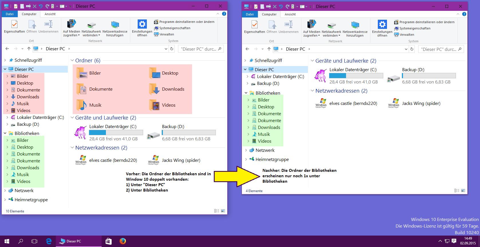 Windows 10 Explorer - Dieser PC mit doppelten Bibliotheken