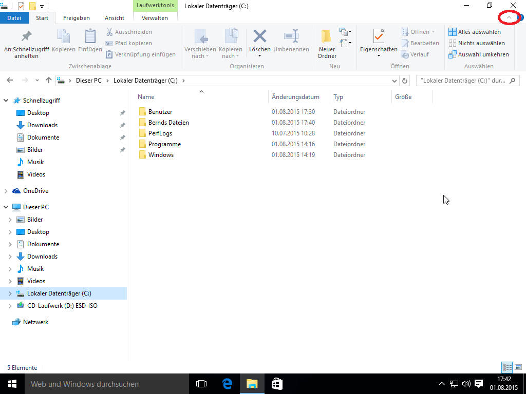 Windows 10 Explorer - Menüband einblenden