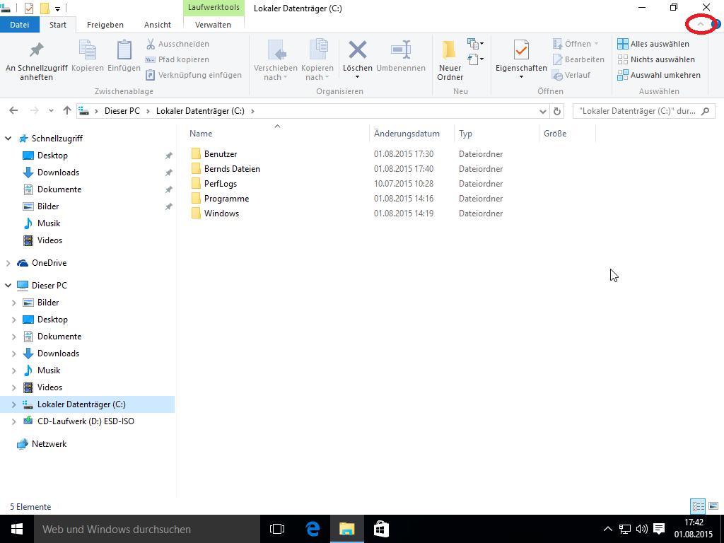 Windows 10 Explorer - Menüband einblenden