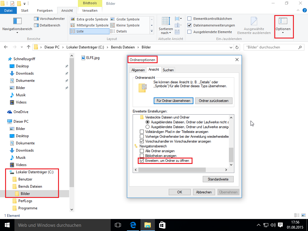 Windows 10 Explorer - Ordner automatisch Erweitern