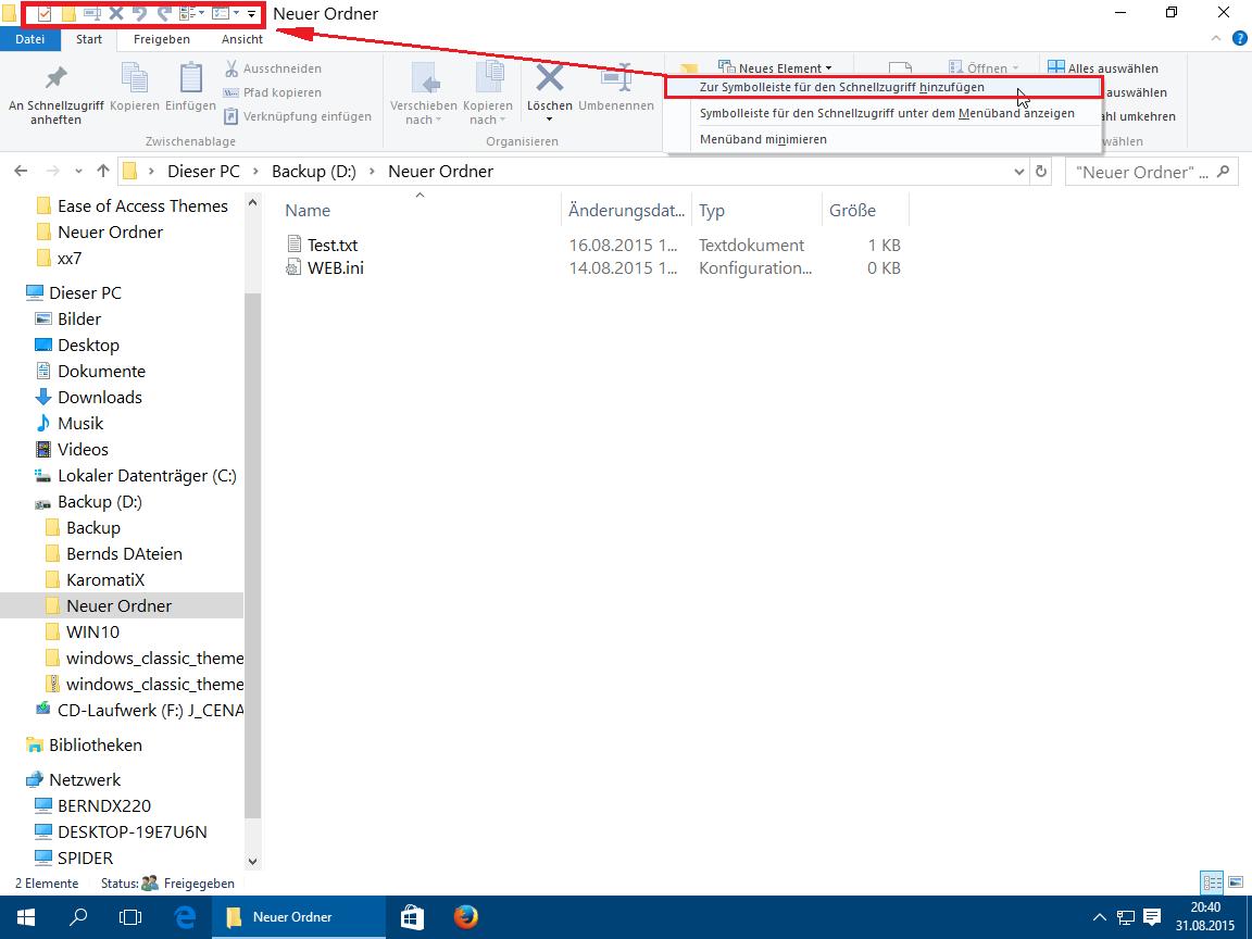 Windows 10 Explorer - Schnellzugriff-Leiste