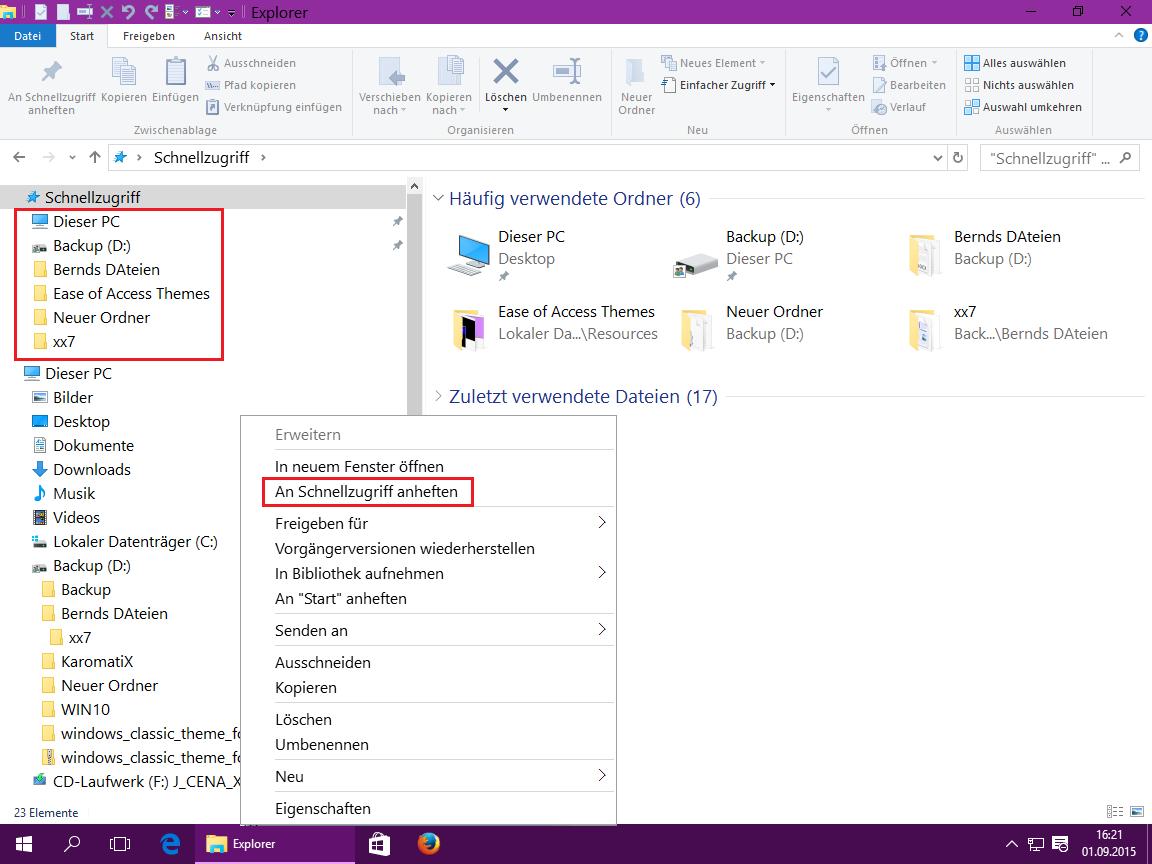 Windows 10 Explorer Schnellzugriff anheften
