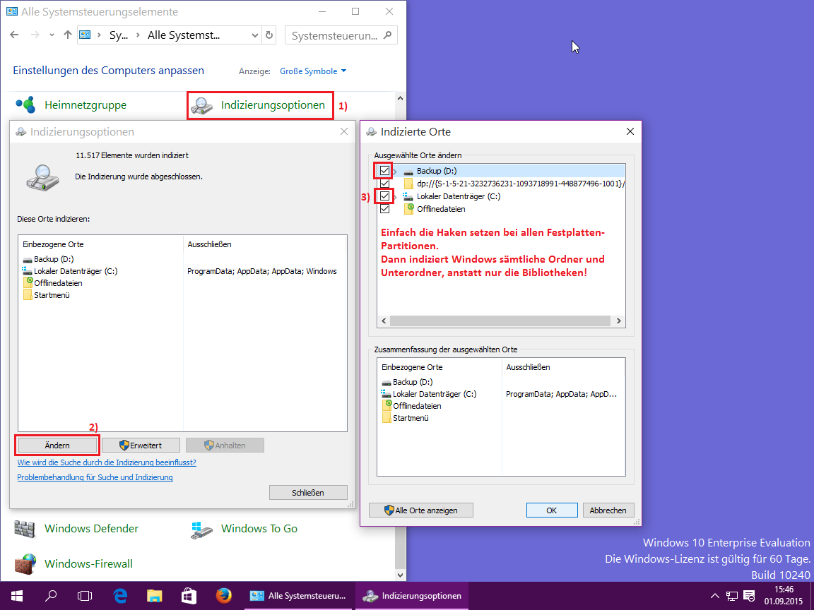 Windows 10 Indizierungsoptionen Laufwerke hinzufügen