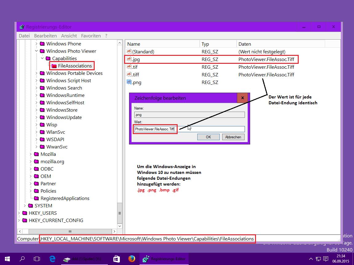 Windows 10 Registrie Fotoanzeige