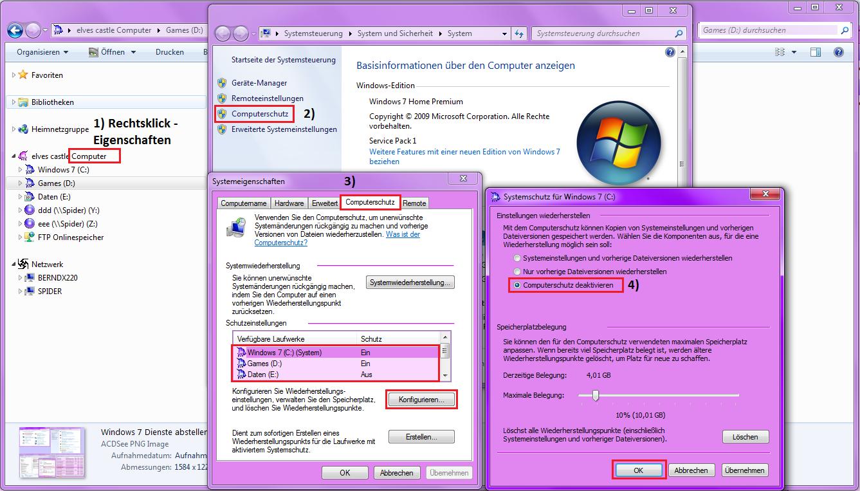 Windows 7 Systemwiederherstellung deaktivieren
