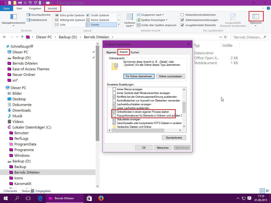 Windows Explorer Popupinformationen ausblenden