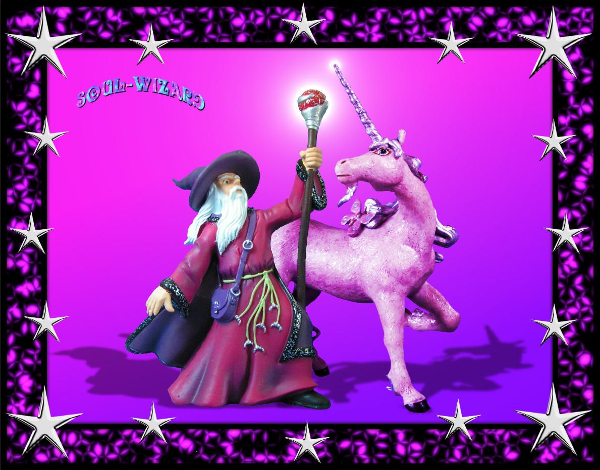 Zauberer mit Einhorn und Sterne