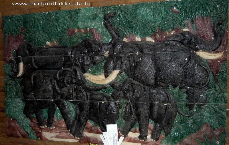 Steinwandtafel Elefanten