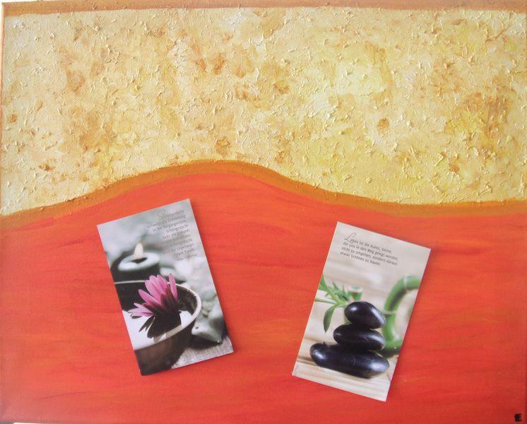 Arcylfarbe auf Leinwand, gem.01.2010, Hier ein Beispiel mit Sruchkarten, Maße 40 x50 cm
