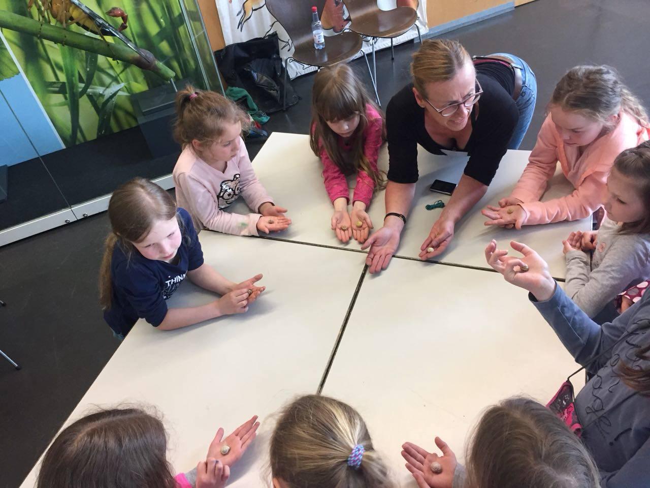 ra Waldow erklärt den Mädchen wie viele verschiedene                                                                                                              Schnecken Arten es gibt.