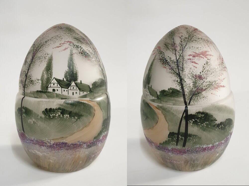 altes handbemaltes Jugendstil Glas Ei, Frankreich, Böhmen