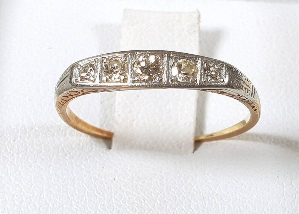 antiker Brilliantschliff Diamant - Damen Ring  um 1900 mit 5 Brillianten