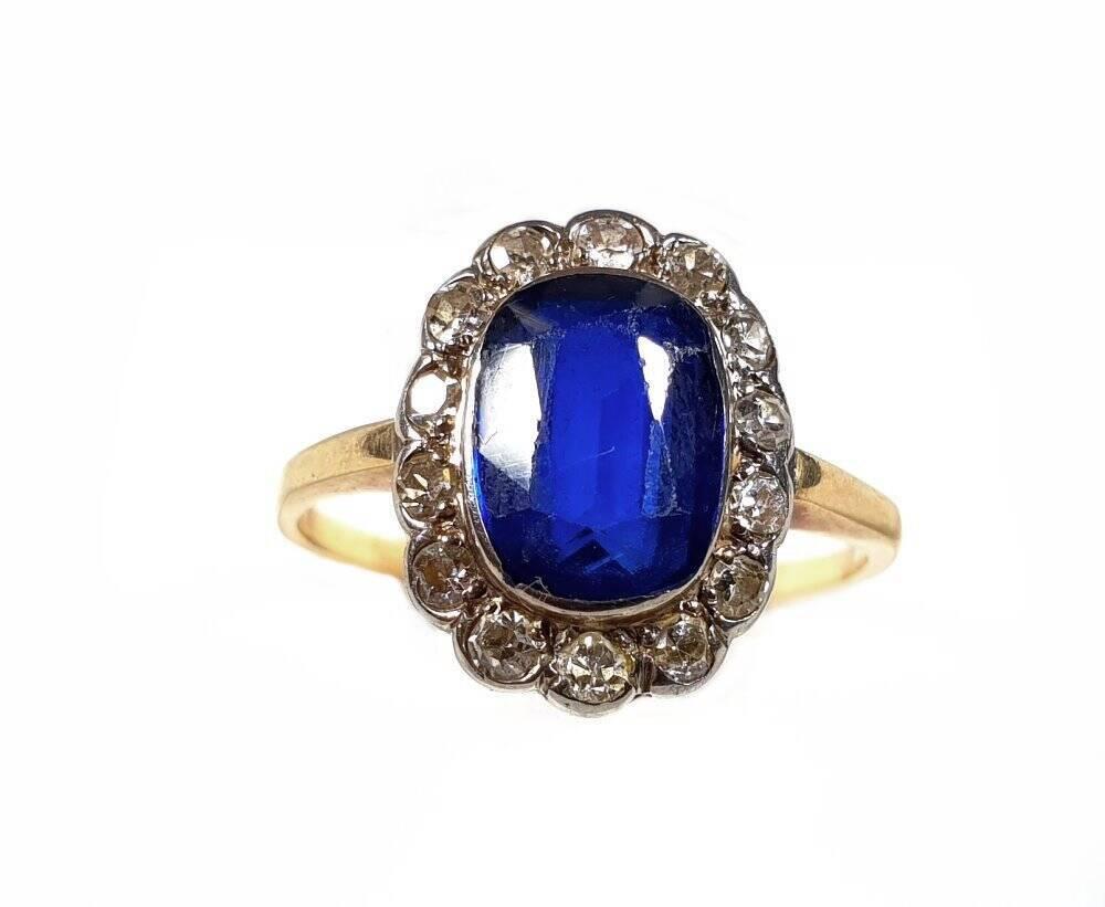 antiker Diamant - Saphier Damen Ring um 1900 mit 14 Diamanten