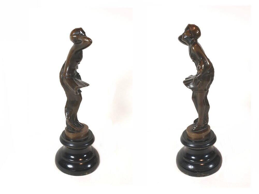 alte antike Art Deko Frauenfigur - Bronzesculptur - Bronzefigur
