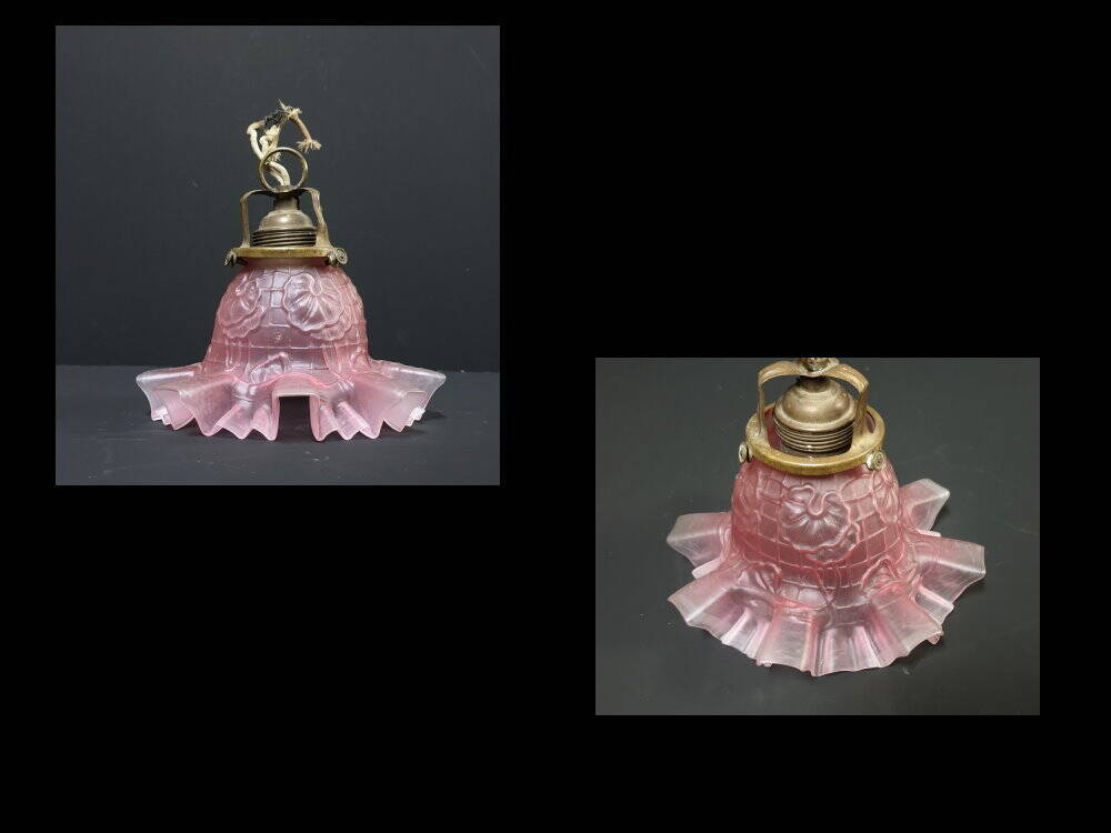 Jugendstil Glas Deckenlampe Blütenform rosa