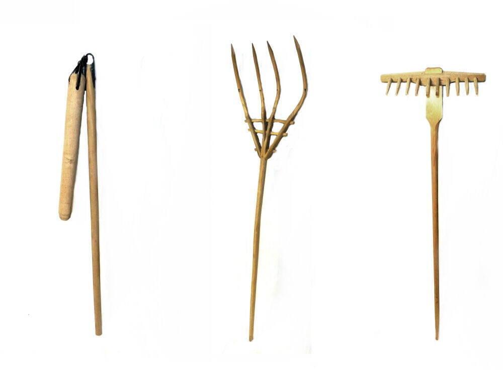 Bauern Dreschflegel, Heugabel, Heurechen Holz