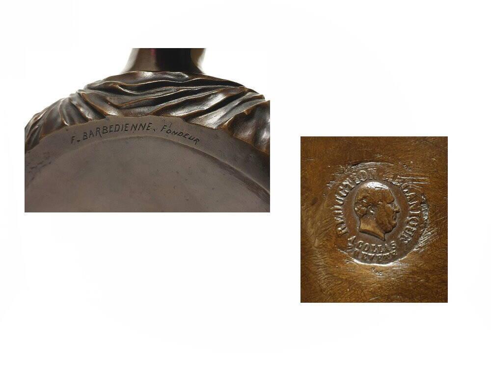 alte antike Bronze Figur Brustbild von F. Barbedienne Fondeur aus Frankreich mit Gießerstempel