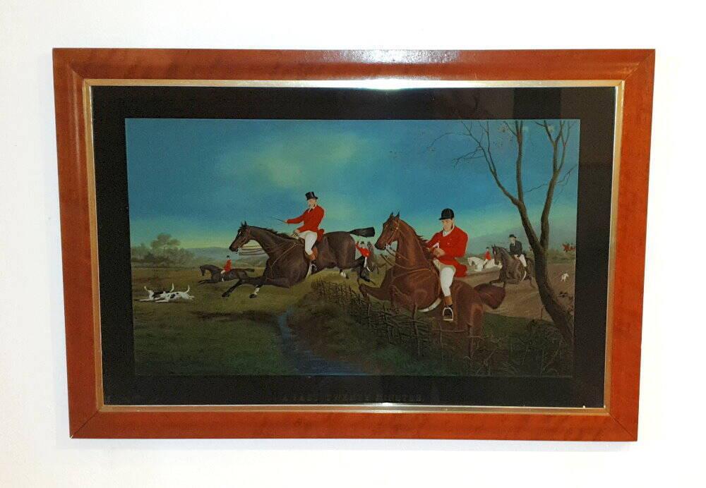 englisches Wandbild, Jagdszene, Hinterglasbild, Treibjagd, Jagdzimmer