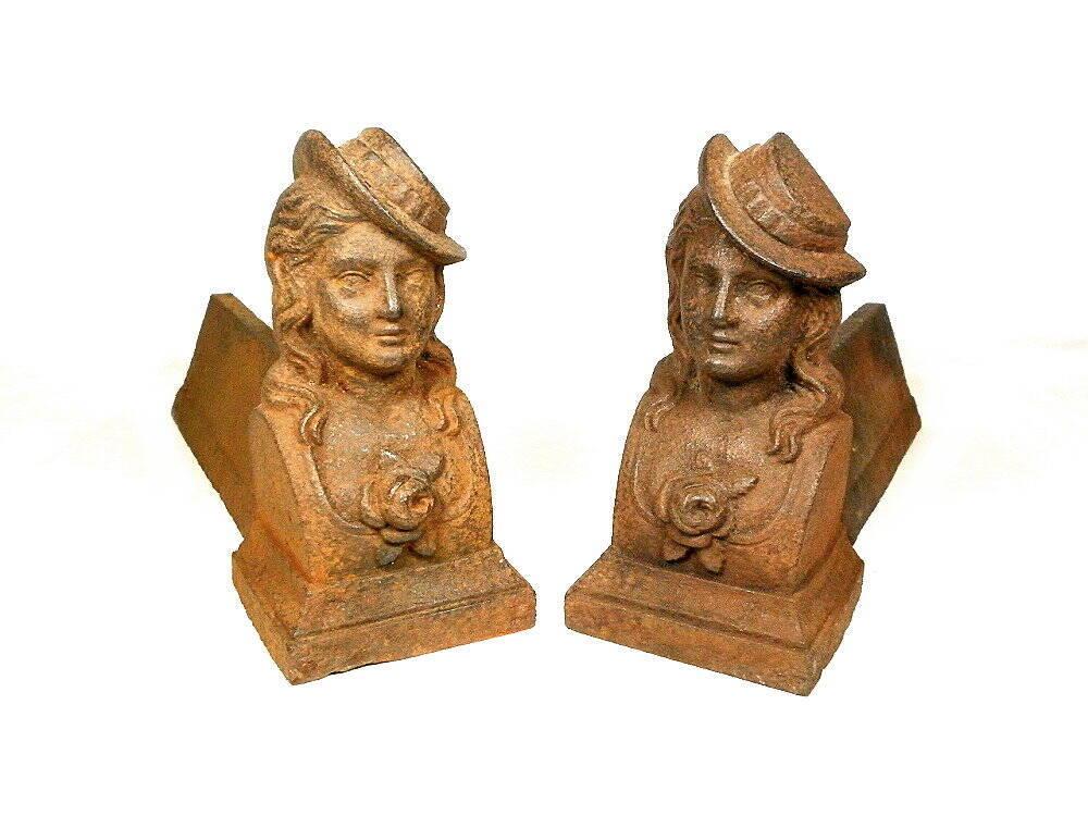 alte antike Eiserne Holzböcke aus Frankreich