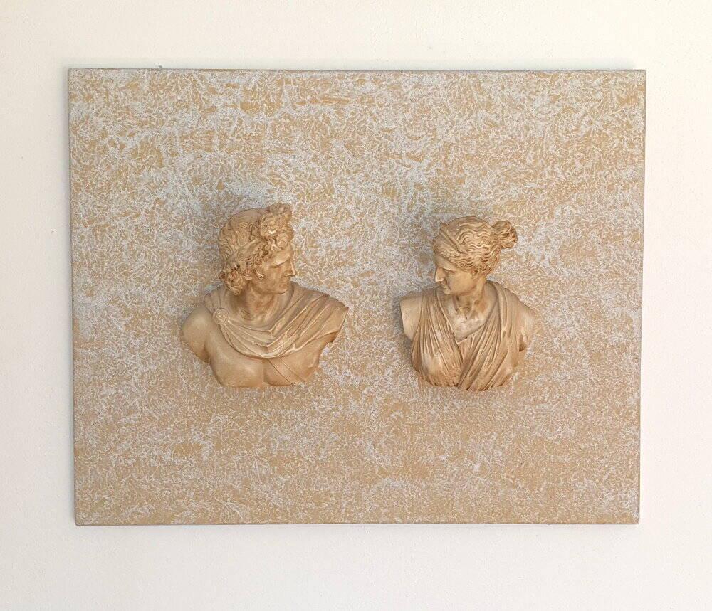Griechische Mythologie, Wandbild, 3 D, plastisch, 2 Büsten, Geschichte, Archäologie, Sondengänger