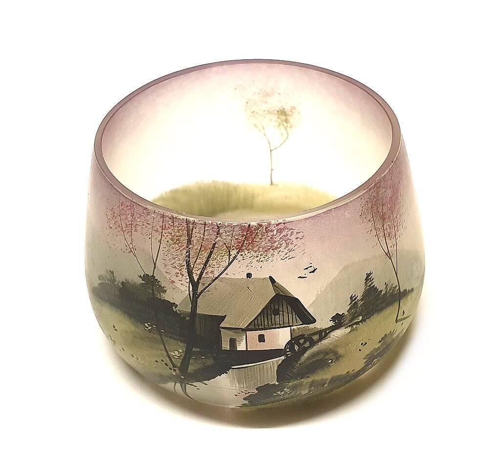 Antikglas, Sammlerglas, Handbemalung, bemaltes Jugendstil Glas,