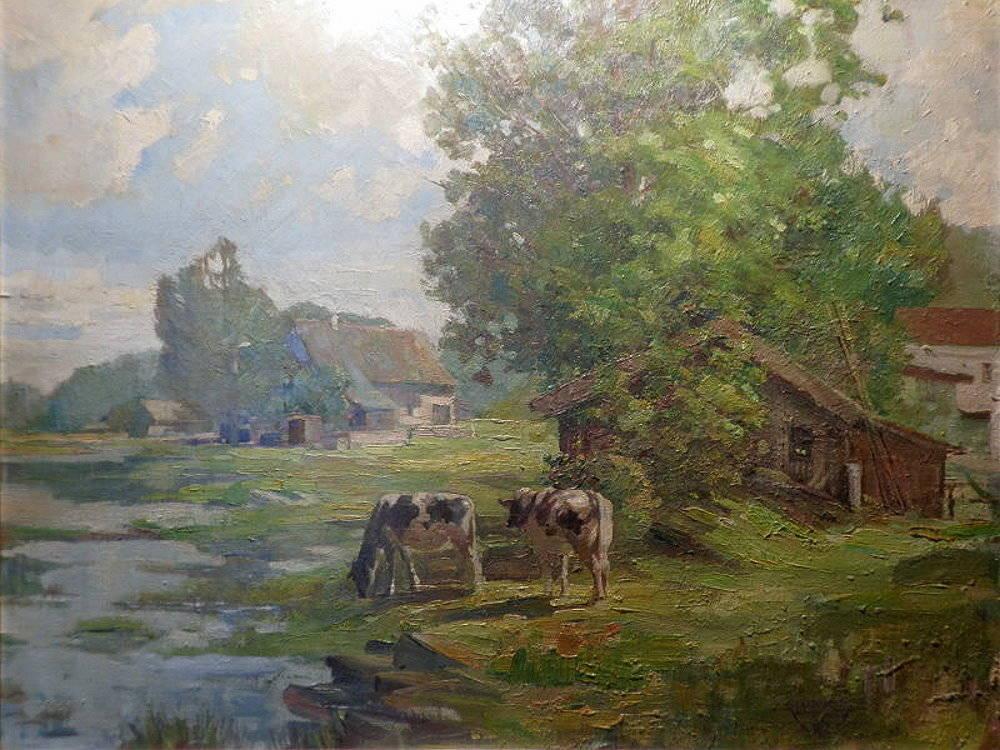 Heinz Klaiberg 1917 - 1995 Ölbild weidende Kühe