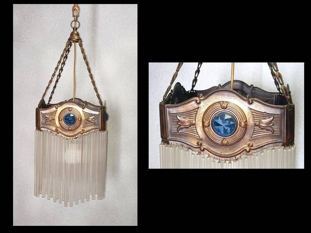 Jugendstil Deckenlampe Glasstäbchen