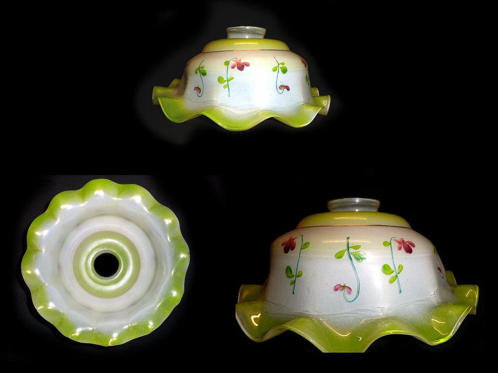 Lampenschirm, Glasschirm grün bemalt