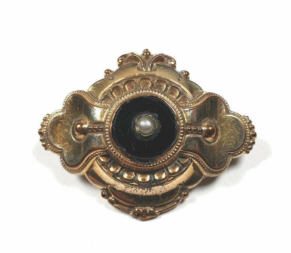 alte Schaumgold Brosche schwarzer Glaseinlage