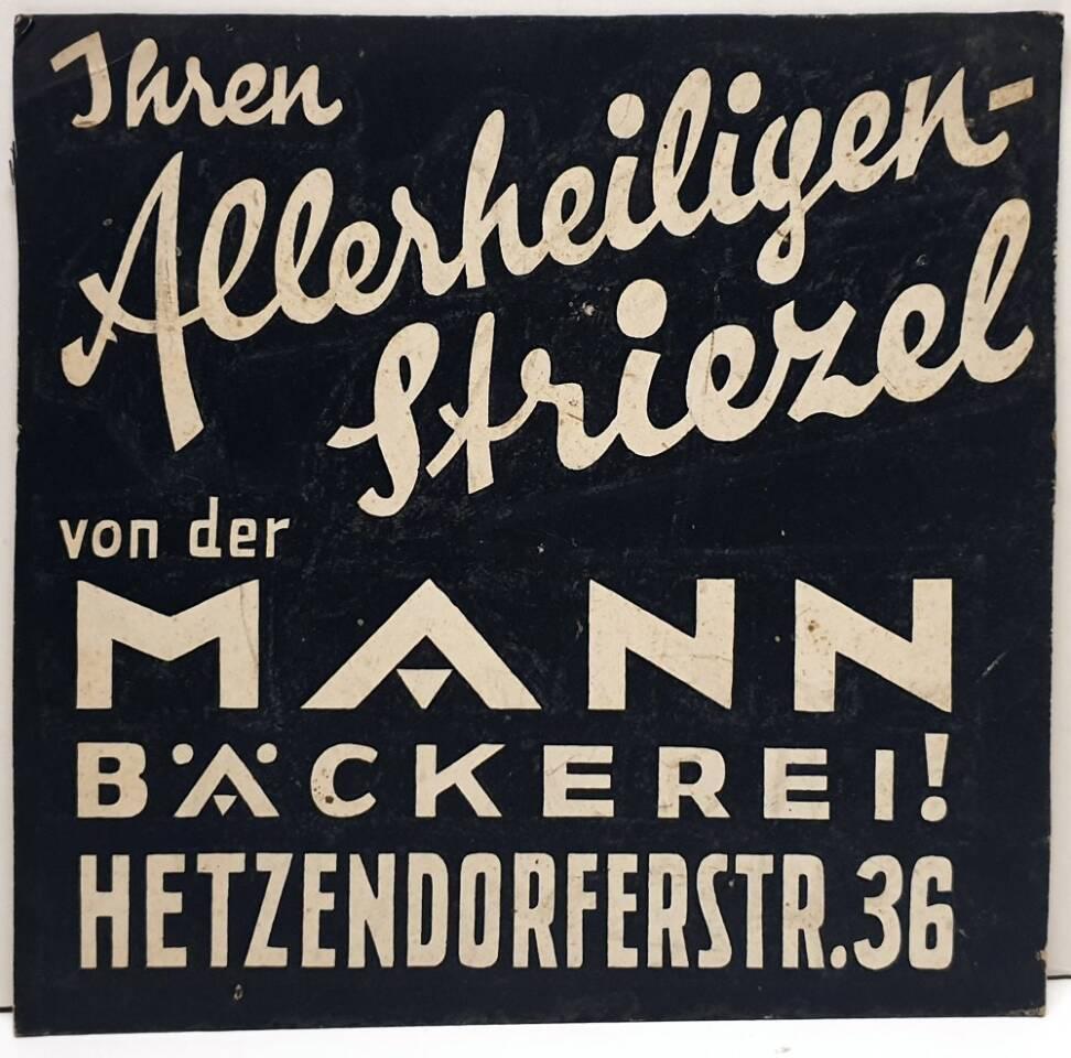 Mann Bäkerei Werbetafel Plakatwerbung alt, antik 30 Jahre bis 60 Jahre