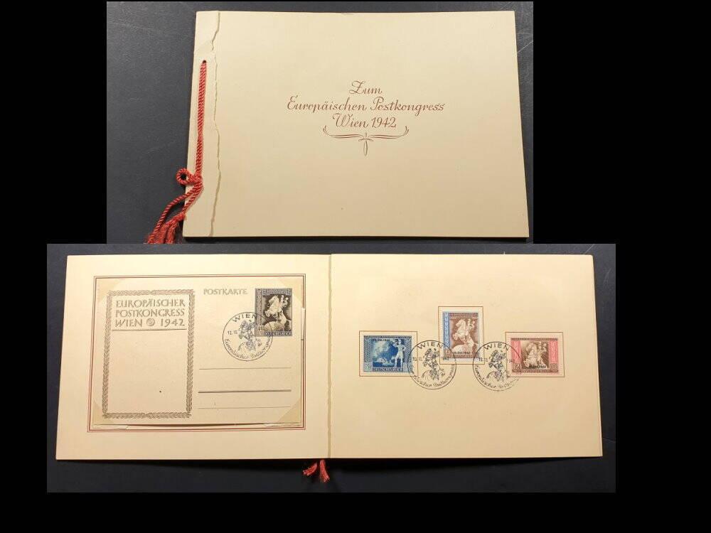 Deutsches Reich Sondermarken Europäischer Postkonkress 1942  im Umschlag der Reichspost