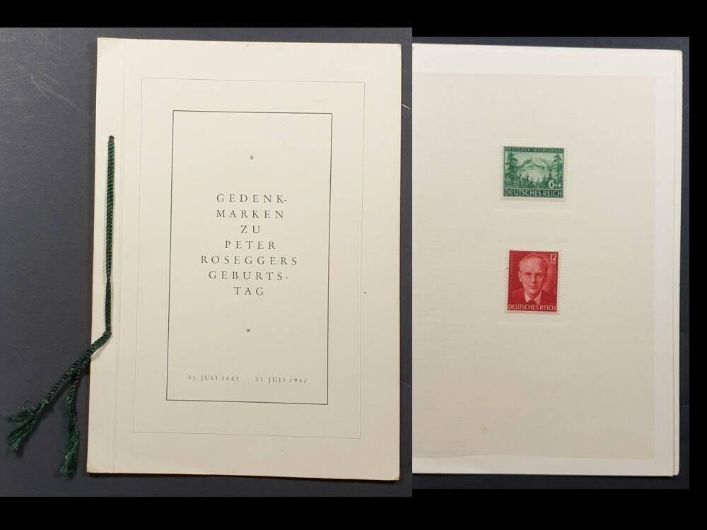Deutsches Reich Sondermarken Peter Rosegger im Umschlag der Reichspost