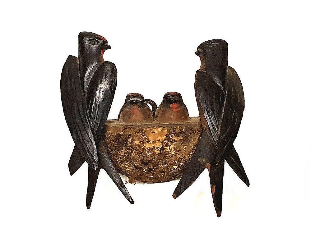 Vichtauer Holzvögel Schwalben mit Jungvögel