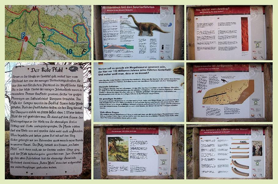 Wanderung zu den Saurierfährten / Barkhausen - Schrifttafeln